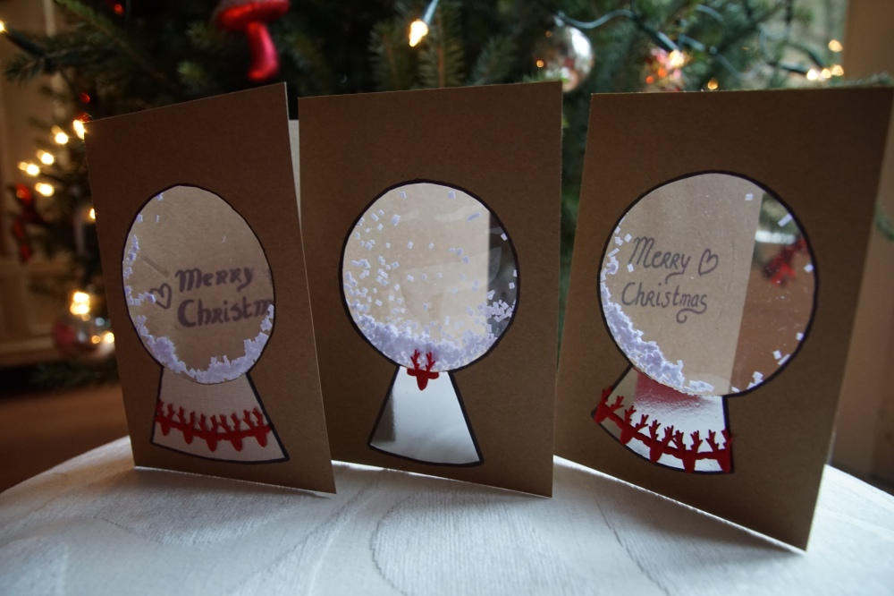 Hand made snowglobe christmas cards 3