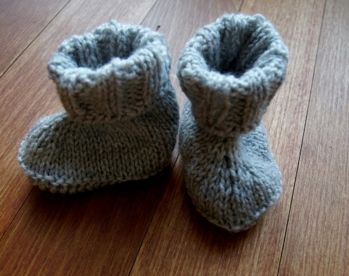 Baby booties knit grey.2