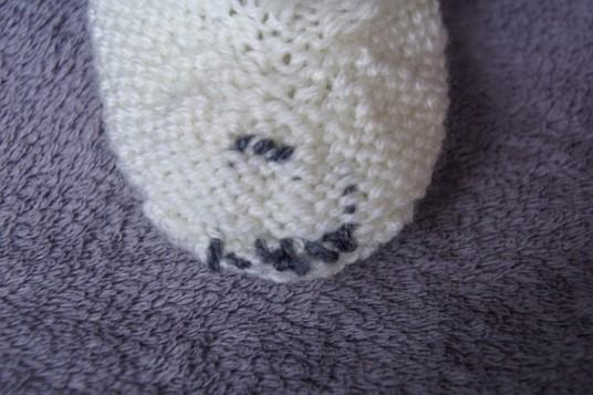Polar bear baby set hand knit booties inside