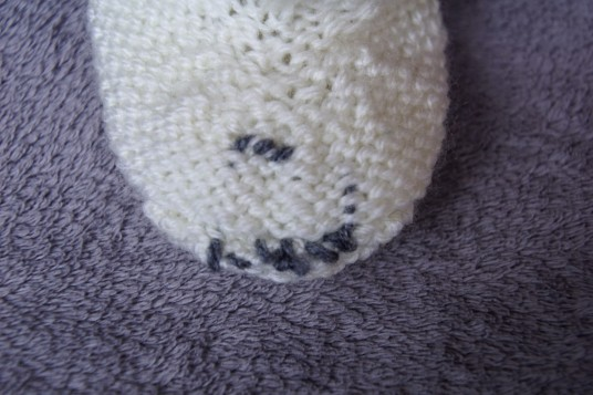 Polar bear baby set hand knit booties inside