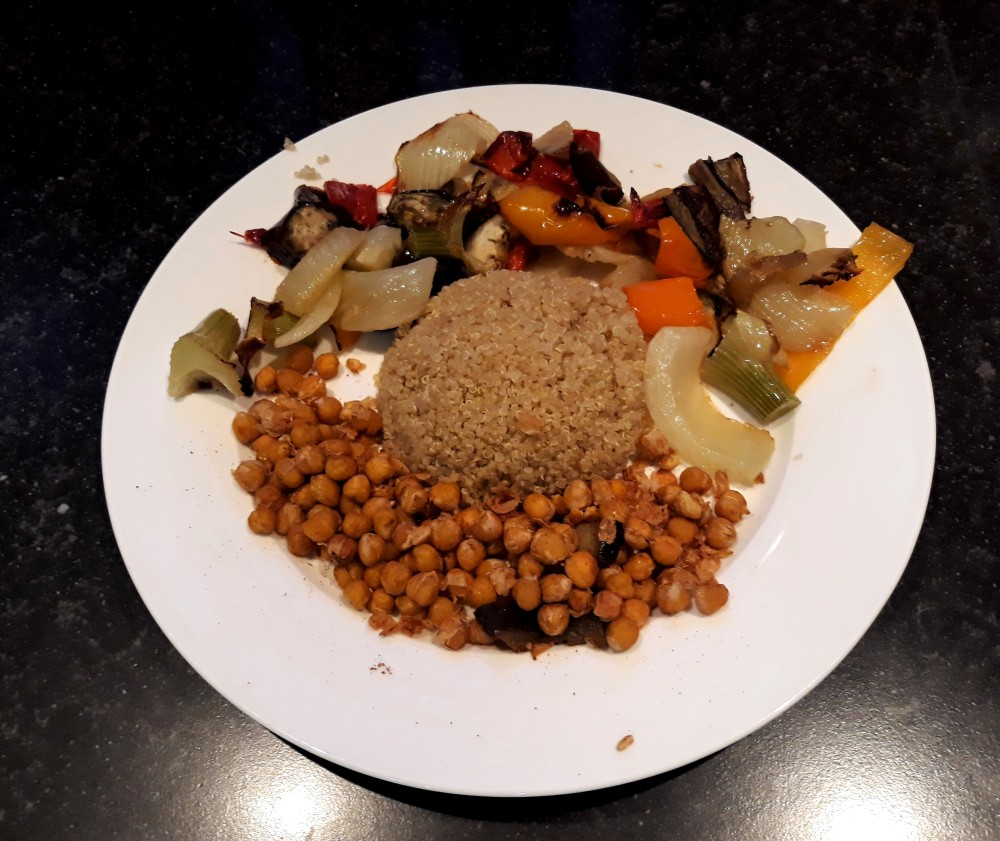 quinoa with roasted veg and crispy chickpeas.2