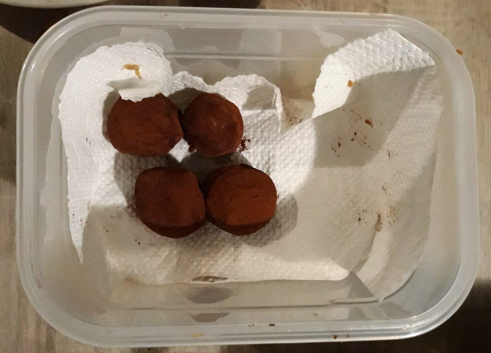 chickpea cookie dough truffles in container