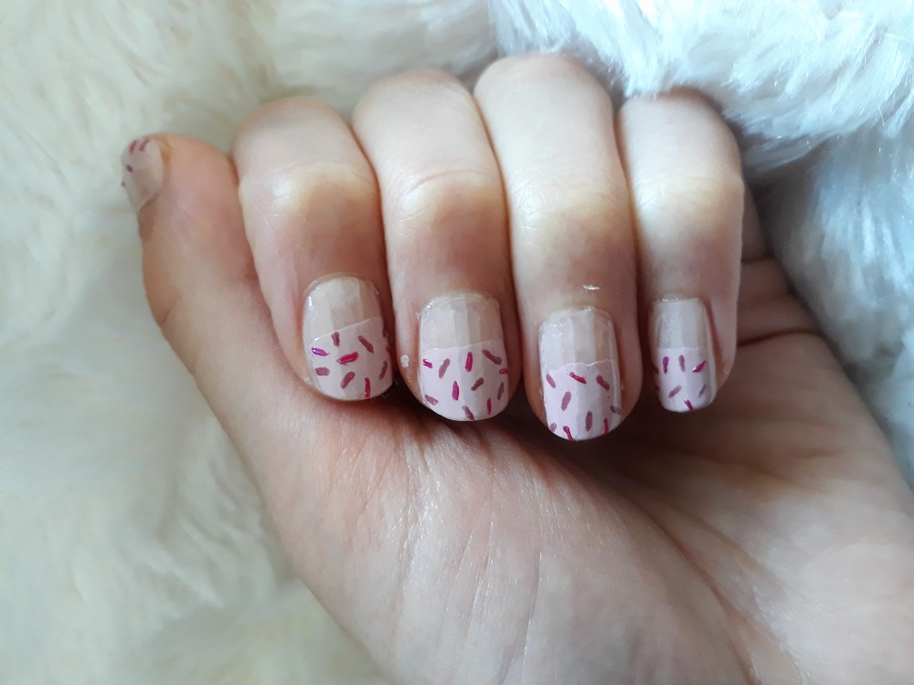 sprinkles nail art pink frosting two colour sprinkles