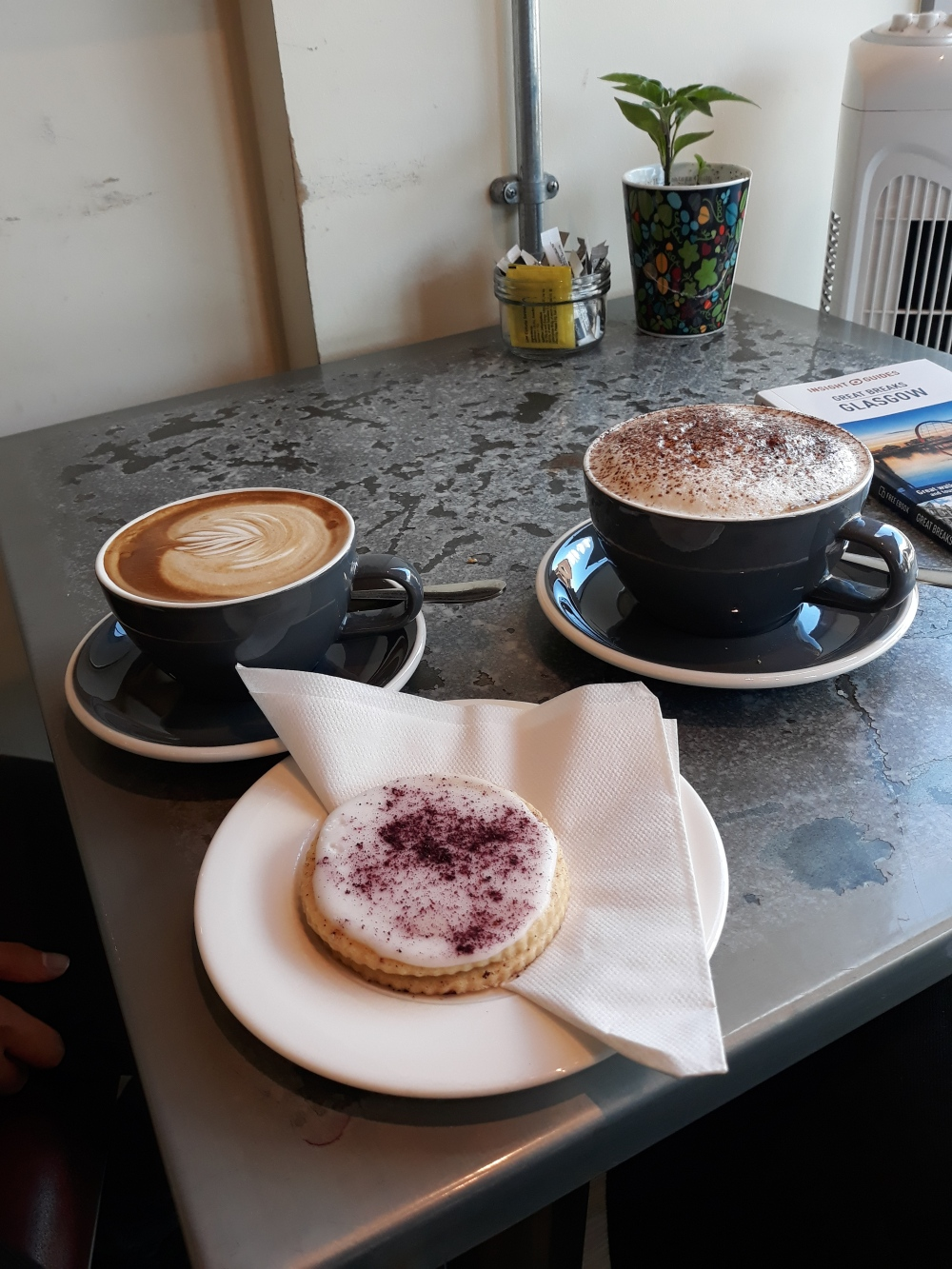 Cappuccino and flat white at Waterstones Glasgow