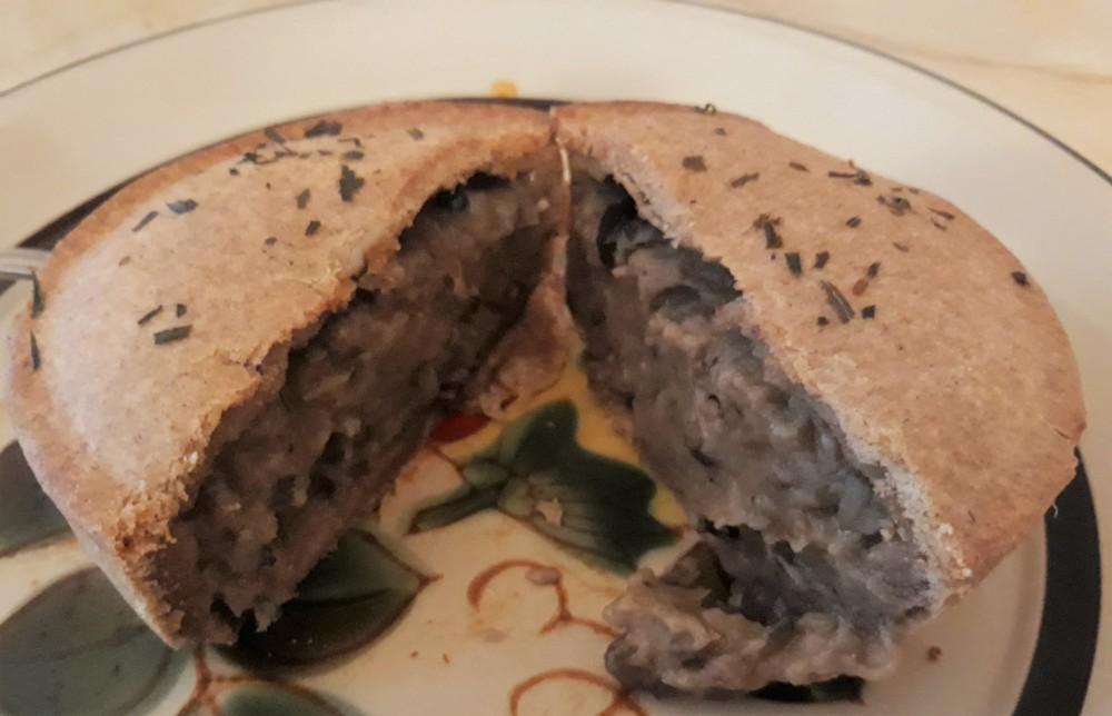 Clive vegan mushroom pie cut
