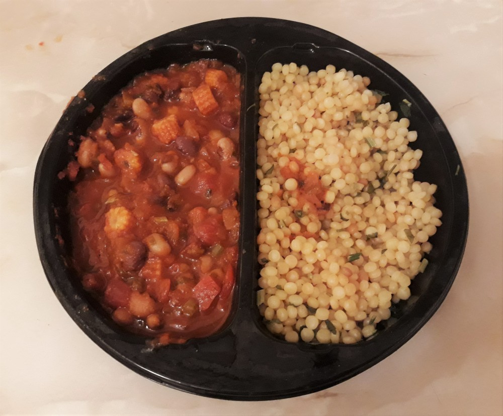 Waitrose three bean chili vegan microwaved