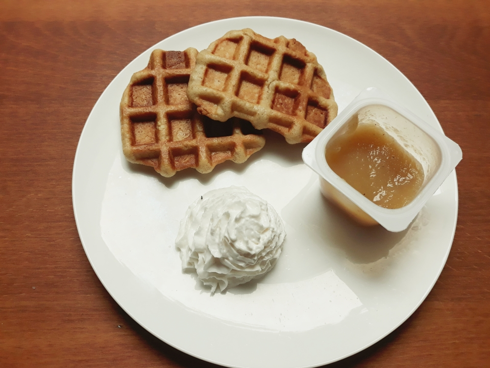 Vegan Liège waffles whipped cream apple sauce
