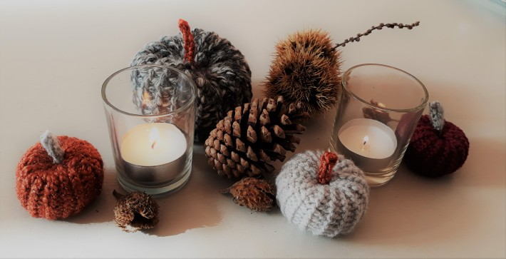Autumn table decoration crochet pumpkin