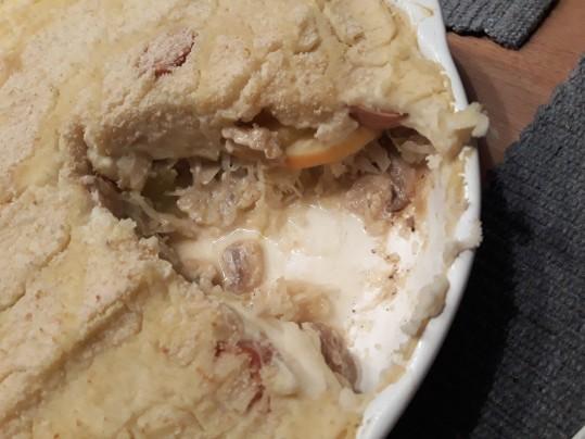 Sauerkraut casserol after baking cut